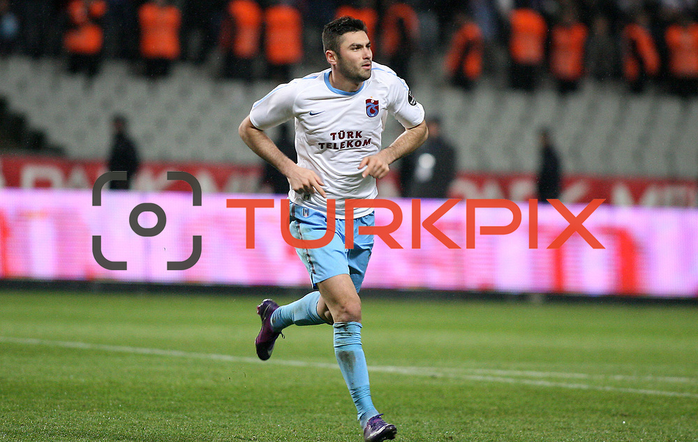 Trabzonspor's Burak Yilmaz celebrate his goal during their Turkish soccer superleague match IBBSpor between Trabzonspor at the Ataturk Olympic stadium in Istanbul Turkey on Saturday 07 January 2012. Photo by TURKPIX