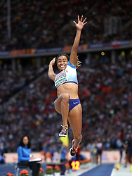 Great Britain's Jazmin Sawyers competes in the Women's Long Jump Final during day four of the 2018 European Athletics Championships at the Olympic Stadium, Berlin.