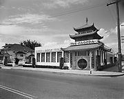 """Ackroyd 03645-1. """"Pagoda Restaurant. June 4, 1952"""" (3839 NE Broadway. Pagoda closed December 31, 2008 after 68 years in operation. The building was stripped of its facade and remodeled as a Key Bank. The facade was colored by lead based paint and could not be preserved because of the hazards.)"""