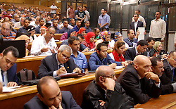 16.05.2015, Kairo, EGY, Mohamed Mursi Prozess, im Bild Ein Gericht in Kairo hat den ehemaligen ägyptischen Präsidenten Mohammed Mursi wegen Spionage heute zum Tode verurteilt. // Egyptians attend the trial of former Egyptian President Mohamed Mursi and other Muslim Brotherhood members at a court in the outskirts of Cairo, Egypt May 16, 2015. An Egyptian court on Saturday sought the death penalty for former president Mohamed Mursi and more than 100 other members of the Muslim Brotherhood in connection with a mass jail break in 2011. Photo by Stringer, Egypt on 2015/05/16. EXPA Pictures © 2015, PhotoCredit: EXPA/ APAimages/ Stringer<br /> <br /> *****ATTENTION - for AUT, GER, SUI, ITA, POL, CRO, SRB only*****
