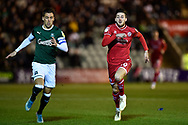 Gary Sawyer (3) of Plymouth Argyle chases Ashley Nadesan (10) of Crawley Town during the EFL Sky Bet League 2 match between Plymouth Argyle and Crawley Town at Home Park, Plymouth, England on 28 January 2020.