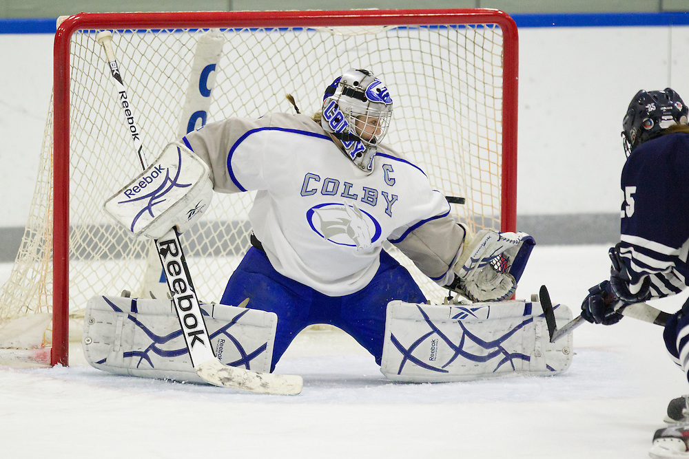 Brianne Wheeler, of Colby College, in a NCAA Division III hockey game against Middlebury College on November 16, 2013 in Waterville, ME. (Dustin Satloff/Colby College Athletics)