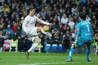 Real Madrid´s Cristiano Ronaldo and Deportivo de la Coruna´s goalkeeper Poroto Lux during 2015/16 La Liga match between Real Madrid and Deportivo de la Coruna at Santiago Bernabeu stadium in Madrid, Spain. January 09, 2015. (ALTERPHOTOS/Victor Blanco)