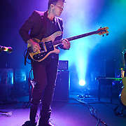 WASHINGTON, DC - September 20th, 2012 - Chris Taylor, bassist in the indie-rock quartet Grizzly Bear, performs during the first of two sold-out shows at the 9:30 Club in Washington, D.C. On Tuesday the band released their latest album, Shields, the follow up to 2009's critically acclaimed Veckatimest. (Photo by Kyle Gustafson/For The Washington Post)