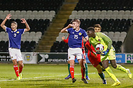 Samuel Soares collects the ball from a corner during the U17 European Championships match between Portugal and Scotland at Simple Digital Arena, Paisley, Scotland on 20 March 2019.