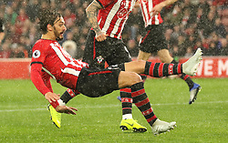 """Southampton's Manolo Gabbiadini scores his side's first goal of the game during the Premier League match at St Mary's Stadium, Southampton. PRESS ASSOCIATION Photo. Picture date: Saturday November 10, 2018. See PA story SOCCER Southampton. Photo credit should read: Mark Kerton/PA Wire. RESTRICTIONS: EDITORIAL USE ONLY No use with unauthorised audio, video, data, fixture lists, club/league logos or """"live"""" services. Online in-match use limited to 120 images, no video emulation. No use in betting, games or single club/league/player publications."""