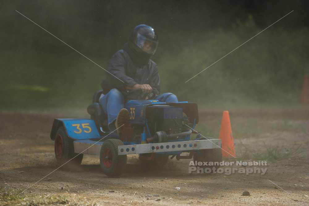 The local club for lawn mower racing in southern Massachusetts holds a Sunday race at a rifle range. Mower racing, or Grasscar, as people love to call it, has been growing in popularity with it's mix of DIY skills, low budgets and nervy thrills.