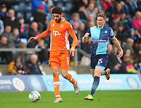 Blackpool's Kelvin Mellor under pressure from Wycombe Wanderers' Dayle Southwell<br /> <br /> Photographer Kevin Barnes/CameraSport<br /> <br /> The EFL Sky Bet League Two - Wycombe Wanderers v Blackpool - Saturday 11th March 2017 - Adams Park - Wycombe<br /> <br /> World Copyright © 2017 CameraSport. All rights reserved. 43 Linden Ave. Countesthorpe. Leicester. England. LE8 5PG - Tel: +44 (0) 116 277 4147 - admin@camerasport.com - www.camerasport.com
