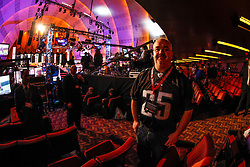 A Philadelphia Eagles fan in the hall before the first round of the NFL Draft on April 26th 2012 at Radio City Music Hall in New York, New York. (AP Photo/Brian Garfinkel)