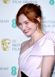 Eleanor Tomlinson in the press room at the 72nd British Academy Film Awards held at the Royal Albert Hall, Kensington Gore, Kensington, London.