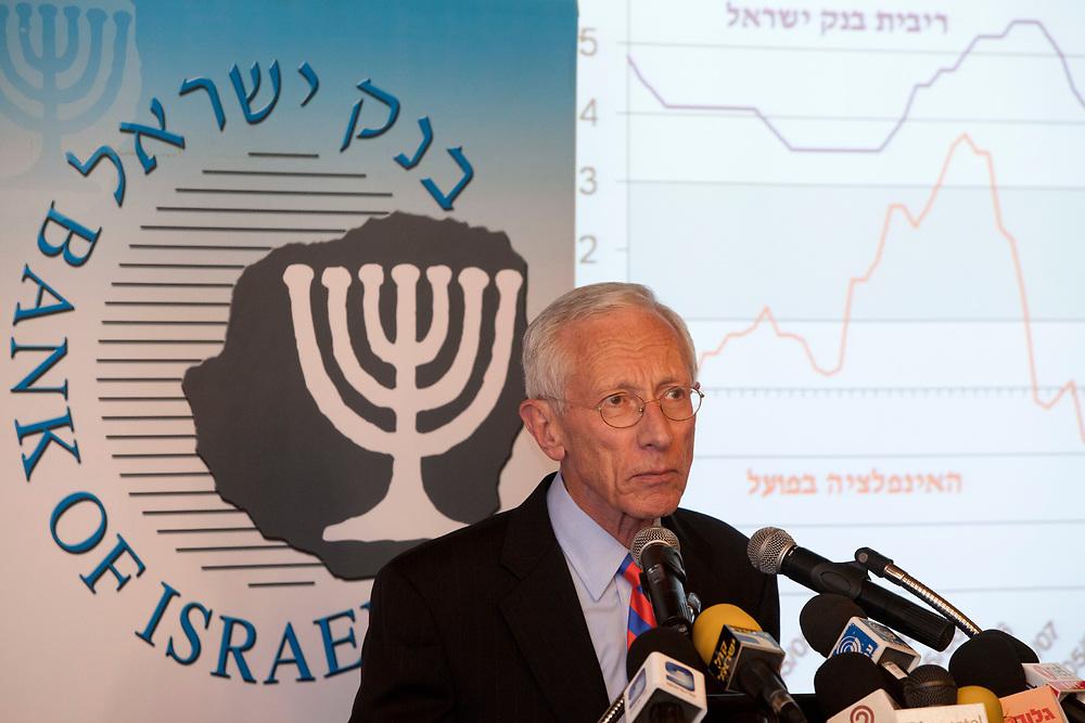 Bank of Israel Governor Prof. Stanley Fischer speaks during a press confernce at the Bank of Israel in Jerusalem, on September 18, 2011.