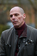 Former Greek Finance Minister Yanis Varoufakis talks to the media as he leaves Belmarsh Prison after visiting Julian Assange, in London, Britain on Sunday, Feb. 23, 2020. (Photo/Vudi Xhymshiti)