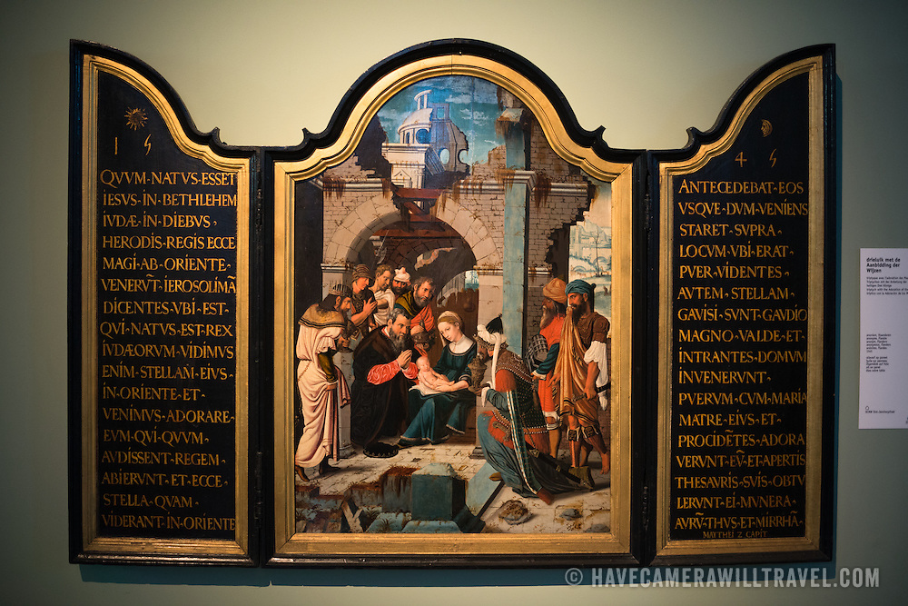 Triptych with the Adoration of the Maji, Flanders, 1545, on display at the Old St. John's Hospital in Bruges, Belgium.Old St. John's Hospital is one of Europe's oldest surviving hospital buildings that dates to the 11th century. It originally treated sick pilgrims and travelers. A monastery and convent was later added. It is now a museum.