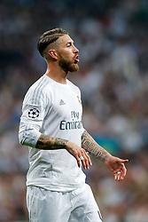 Sergio Ramos of Real Madrid looks on - Mandatory byline: Rogan Thomson/JMP - 04/05/2016 - FOOTBALL - Santiago Bernabeu Stadium - Madrid, Spain - Real Madrid v Manchester City - UEFA Champions League Semi Finals: Second Leg.