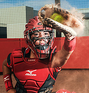 Robin Zielinski - Sun-News<br /> Prep Female Athlete of the Year Alexis Maynez, who is a catcher at Centennial High School, has dust fly from her glove while playing catch for a photoshoot at the school's softball field.