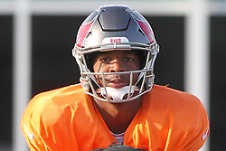 July 28, 2018 - Tampa, FL, U.S. - TAMPA, FL - JULY 28: Looking into the eyes of Jameis Winston (3) as he stands over the center during the Tampa Bay Buccaneers Training Camp on July 28, 2018 at One Buccaneer Place in Tampa, Florida. (Photo by Cliff Welch/Icon Sportswire) (Credit Image: © Cliff Welch/Icon SMI via ZUMA Press)
