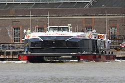 © Licensed to London News Pictures. 03/06/2014. Stock photos of the Millennium Diamond from when she arrived on the Thames in August 2012. The City Cruises vessel was today involved in an incident when it crashed in to Tower Bridge, injuring nine passengers on board. Over 100 people were on board at the time. Credit : Rob Powell/LNP