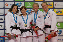 Gold medalist Tina Trstenjak (2nd L) of Slovenia, silver medalist Pari Surakatova (L) of Russia with bronze medalist Anna Bernholm (2nd R) and Mia Hermansson (1st R) of Sweden attend the award ceremony for women's -63 kg category at Grand Prix Budapest 2015 in Budapest, Hungary on June 13, 2015. EXPA Pictures © 2015, PhotoCredit: EXPA/ Photoshot/ Attila Volgyi<br /> <br /> *****ATTENTION - for AUT, SLO, CRO, SRB, BIH, MAZ only*****