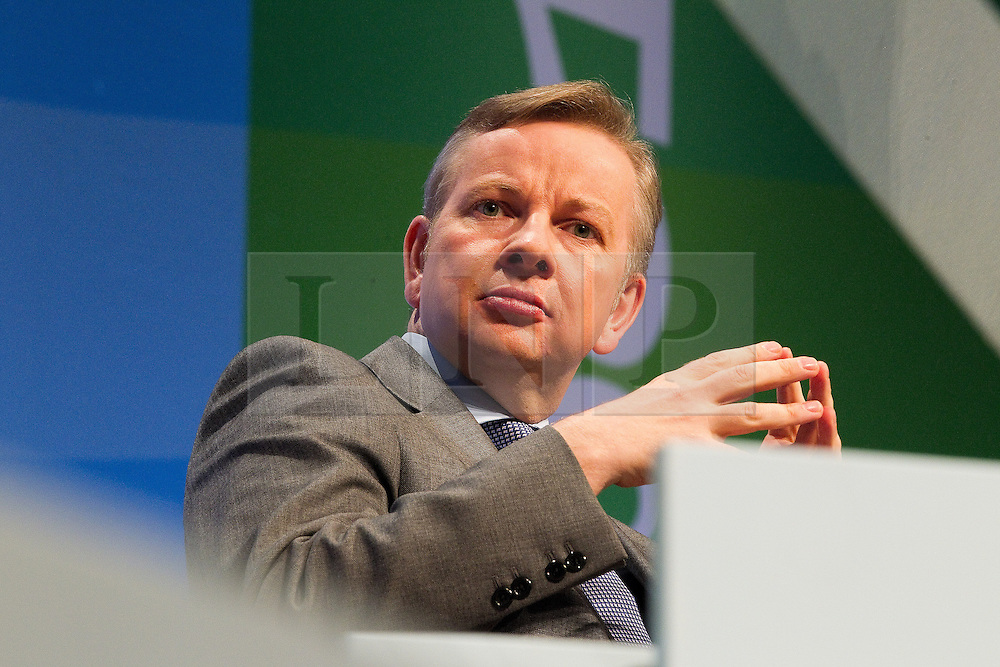 © Licensed to London News Pictures. 04/10/2011. Manchester, UK. Education Secretary, Michael Gove, addresses the Conservative Party Conference in Manchester. Photo credit : Joel Goodman/LNP