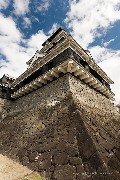 Upward view of stone wall of Kumamoto Castle, Kumamoto city, Kumamoto Prefecture, Japan