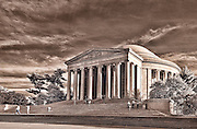A sepia picture of the Jefferson Memorial in Washington, DC.