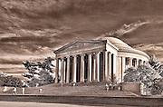 A sepia picture of the Jefferson Memorial in Washington, DC.