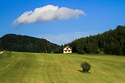 Green and blue Rural scene with fluffy cloud. Photographed at Beckov, Slovakia