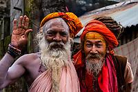Saddhus (Holy men) at a Hindu Temple, Bashisht, near Manali, Himachal Pradesh, India.