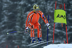 Telemark skier in jump at FIS Telemark World Cup Kobla 2009 race,  on January 18, 2009, in Kobla, Bohinj, Slovenia.  (Photo by Vid Ponikvar / Sportida)