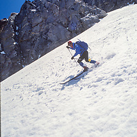 Mountaineers make an early ski descent of Wahoo Gully, Mount Emerson, Sierra Nevada, CA