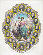 Columbia dressed in stars and stripes, holding a cap of liberty and accompanied by a Bald Eagle, surrounded by portraits of the first 16  presidents of the USA , Washington at top, a beardless Lincoln at the bottom. Coloured lithograph c1861.
