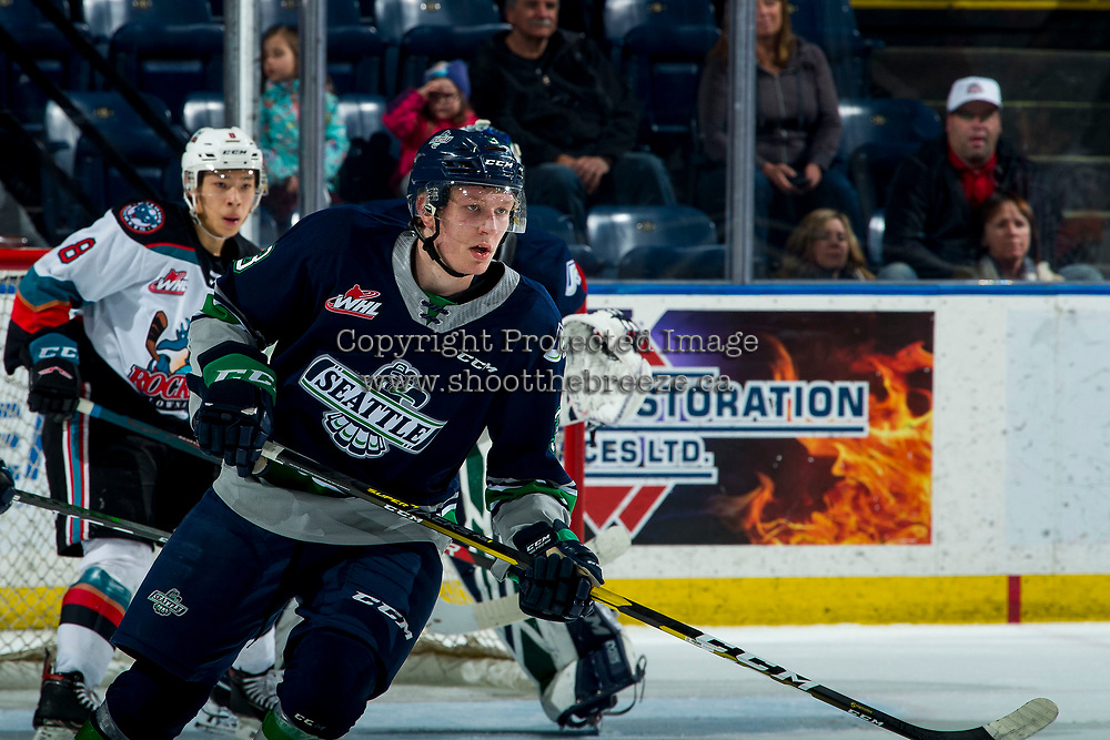 KELOWNA, BC - MARCH 6: Cade McNelly #3 of the Seattle Thunderbirds skates against the Kelowna Rockets at Prospera Place on March 6, 2020 in Kelowna, Canada. (Photo by Marissa Baecker/Shoot the Breeze)