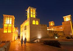 Bastakia Quarter at night Bur Dubai, Dubai, United Arab Emirates, UAE