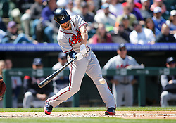 April 8, 2018 - Denver, CO, U.S. - DENVER, CO - APRIL 08: Atlanta Braves Infielder Charlie Culberson (16) hits during a regular season MLB game between the Colorado Rockies and the visiting Atlanta Braves on April 8, 2018 at Coors Field in Denver, CO. (Photo by Russell Lansford/Icon Sportswire) (Credit Image: © Russell Lansford/Icon SMI via ZUMA Press)