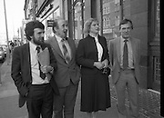 TD,s Press Conference at Wynns Hotel..1981..20.04.1981..04.20.1981..20th April 1981..After their visit to Hunger Striker, Bobby Sands, the TD's held a press conference at Wynns Hotel, Abbey Street, Dublin..Picture shows TD's Niall Blaney, Shiela deValera and Dr John O'Connell arriving at Wynns Hotel for their press conference, they were accompanied by Mr Owen Carron, Election Agent for Bobby Sands.