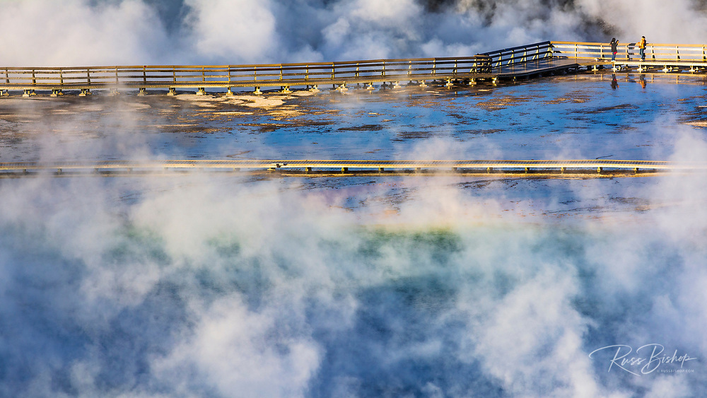 Boardwalk and steam at Grand Prismatic Spring, Yellowstone National Park, Wyoming USA