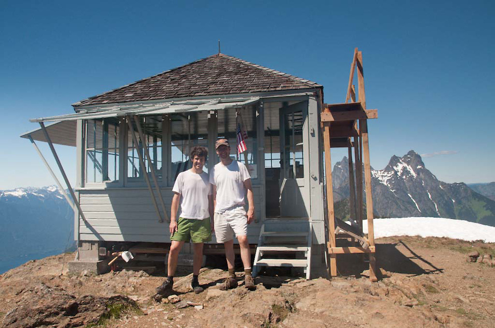 Roddy and Joe at Desolation Peak Fire Lookout, North Cascades National Park, Washington, US