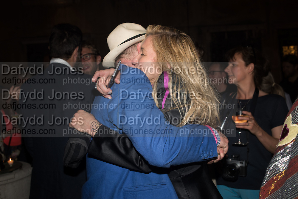 GAVIN TURK;  MAYA  HIRST; , Sarah Lucas- Scream Daddio party hosted by Sadie Coles HQ and Gladstone Gallery at Palazzo Zeno. Venice. 6 May 2015.