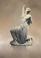"""Greek  statue of a Niobid from the Horti Sallustiani (Gardens of Sallust), a Greek original from the 5th cent BC found near the Via Collina and Piazza Sallustio, Rome. The wounded female figure whose back has been struck by an arrow is one of fourteen children of Amphion of Thebes and Niobe.  According to myth, Niobe insulted Lato, mother of the divine Apollo and Artemis; """"why ever should Lato, a women of common birth, with a coarse daughter and an effeminate son, be preferred to me, the niece of Zeus and Atlas, scourge of the Phyrigians and the royal house of Cadmus?."""". The vengeful Lato ordered Apollo and Artemis to kill Niobe's children who were struck down with arrows. In antiquity the myth of the Niobids was the subject matter of numerous works of art. The statue , a 5th century Greek original, was used as an ornamental piece in the Horti Sallustiani (Gardens of Sallust), where it was found with other figures of Niobids, two of which are now at the Ny Carlsberg Glypotheck in Copenhargen. Originally it was part of a pedimental group which decorated the facade of a Greek Temple. Inv 72274, The National Roman Museum, Rome, Italy"""