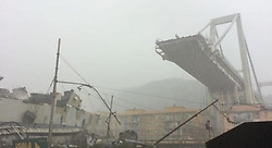 Italy, Genoa- August 14, 2018.A highway bridge  has partially collapsed, prompting fears of injuries and deaths. (Credit Image: © La Repubblica/Ropi via ZUMA Press)