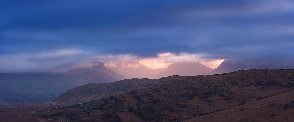 Kerry Highland Sunrise Panorama, County Kerry, Ireland.
