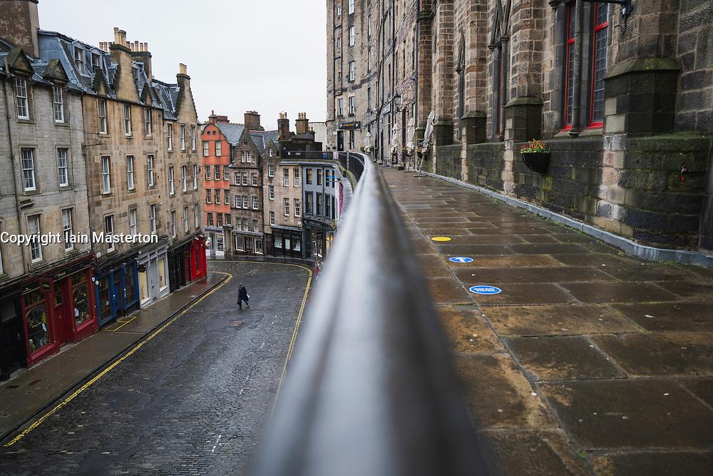 Victoria Street , Edinburgh Old Town. 6 February 2021.Empty street during covid-19 lockdown, Scotland, UK