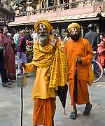 """Hindu holy men (sadhus), in Kathmandu, Nepal, Asia. Published in """"Light Travel: Photography on the Go"""" book by Tom Dempsey 2009, 2010."""