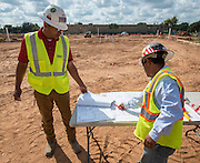 Construction crews work at Worthing High School, October 29, 2014.