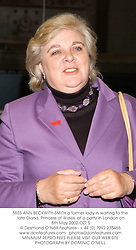 MISS ANN BECKWITH-SMITH a former lady in waiting to the late Diana, Princess of Wales, at a party in London on 8th May 2002.	OZT 5