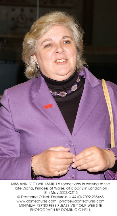 MISS ANN BECKWITH-SMITH a former lady in waiting to the late Diana, Princess of Wales, at a party in London on 8th May 2002.OZT 5