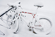 A red bicycle covered in snow is locked to a bike rack on the University of Colorado campus in Boulder, Colorado.
