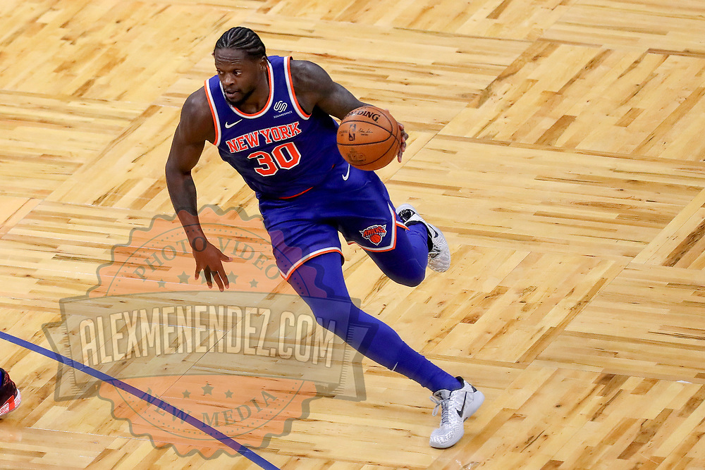 ORLANDO, FL - FEBRUARY 17:  Julius Randle #30 of the New York Knicks controls the ball against the Orlando Magic at Amway Center on February 17, 2021 in Orlando, Florida. NOTE TO USER: User expressly acknowledges and agrees that, by downloading and or using this photograph, User is consenting to the terms and conditions of the Getty Images License Agreement. (Photo by Alex Menendez/Getty Images)*** Local Caption *** Julius Randle