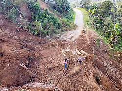 There are thousands of landslides in the north, centre and west of Honduras. Here in San Luis Planes the coffee harvest is affected by damaged roads that prevent coffee pickers from getting to farms and prevent transport of coffee to mills. The coffee harvest is also damaged from coffee cherries falling with heavy rain, root rot and many fungal diseases like leaf rust that prosper in humidity.