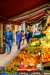 Fruit and vegetables for sale in the Via Pescherie Vecchie, Bologna, Italy<br /> <br /> (c) Andrew Wilson | Edinburgh Elite media